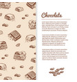 sketched chocolate bars flyer or banner template vector image vector image