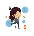 time is money business woman concept vector image