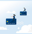 transaction with credit card flying people vector image