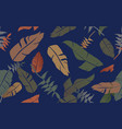 tropical jungle plants pattern seamless background vector image