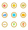virus icons set cartoon style vector image vector image