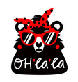 with bear in red sunglasses and headband vector image vector image