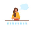 young woman drinking water in cartoon style vector image vector image
