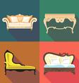 Bedroom home decoration icon set flat style Digita vector image