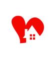 love heart house logo vector image