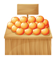 A stand with fruits and an empty signboard vector image vector image