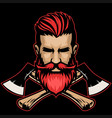 bearded hipster lumberjack head with crossed axes vector image vector image