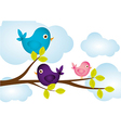birds on tree branches clouds in background vector image vector image