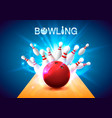 bowling club poster with the bright background vector image
