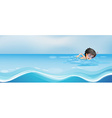 Boy swimming alone in the pool vector image vector image