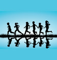 children silhouettes running outdoor vector image vector image