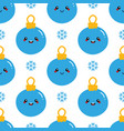 christmas ball characters and snowflakes pattern vector image vector image