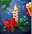 christmas greeting card with burning candle vector image vector image