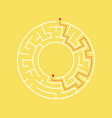 circular maze and path to the exit from center vector image
