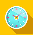 clock icon with long shadow on yellow background vector image