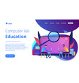 computer lab education landing page vector image vector image