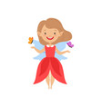 cute beautiful little winged fairy lovely girl in vector image vector image
