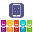dead phone icons set flat vector image vector image