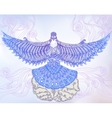 Decorative dove flying out of human hands vector image