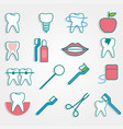 dental supplies in flat style on gray background vector image vector image