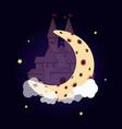 fantasy princess castle on moon night starry sky vector image