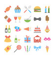 flat icon set of birthday vector image vector image