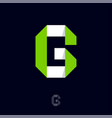 g monogram origami logo white-gree paper figure vector image