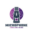 gaming microphone or podcast logo vector image vector image