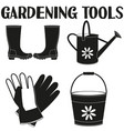 garden watering 4 elements silhouette set vector image vector image