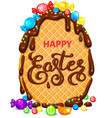 happy easter waffle egg in chocolate with lot of vector image vector image
