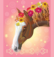 horse portrait with flowers3 vector image vector image