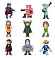 kids wearing superheroes costume vector image