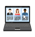 Laptop with candidates list vector image