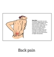Low back pain in women black and white sketch vector image vector image