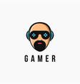 mascot man gamer logo with joystick glass eye vector image