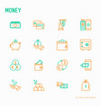 money thin line icons set vector image vector image