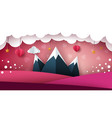 mountain paper landscape heart valentine day vector image vector image