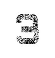 number three sign 3 textured font grunge design vector image vector image