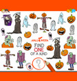 one of a kind task with halloween characters vector image vector image