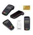 payment terminal closeup money receipt credit vector image