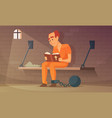 prisoner sitting in cell and reading bible vector image vector image