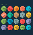 Round Thin Icon with Shadow Set 10 vector image vector image