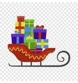santa claus sleigh icon flat style vector image vector image