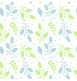 seamless pattern of green and blue leaves vector image