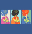 set cards to international womens day vector image vector image