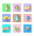 Set of colorful kids toys icons in flat style like