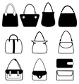 Set of flat woman bags isolated on white vector image vector image