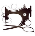 sewing machine and scissors silhouette vector image