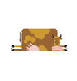 sleeping cow farm animal is asleep sleepy cattle vector image