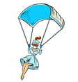 super hero nurse goes down on a parachute like a vector image